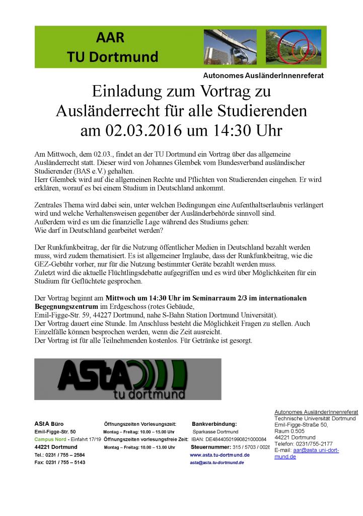 Vortrag zum Auslaenderrecht für alle Studierende am 02.03.2016 um 14:30
